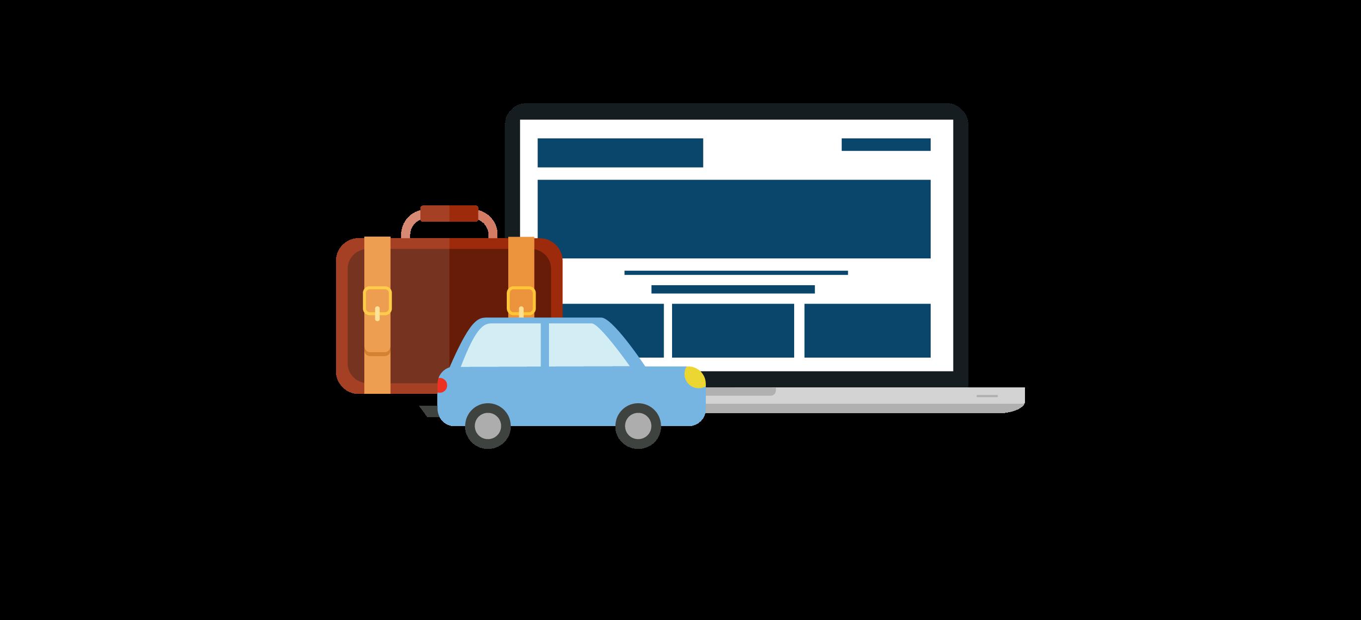 imagem ilustrativa de um carro com mala de viagem a representar uma reserva em Hotelaria e Rent-a-car no sistema de reservas